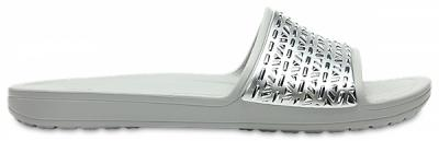 Womens Crocs Sloane Graphic Etched Slides